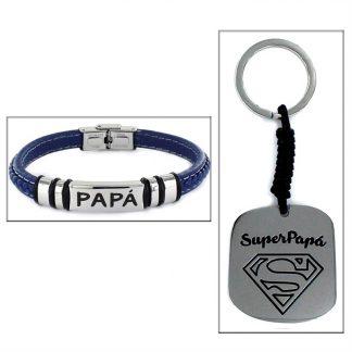 """Estuche """"SUPER PAPA"""" pulsera + llavero"""