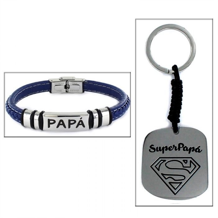 Estuche «SUPER PAPA» pulsera + llavero S
