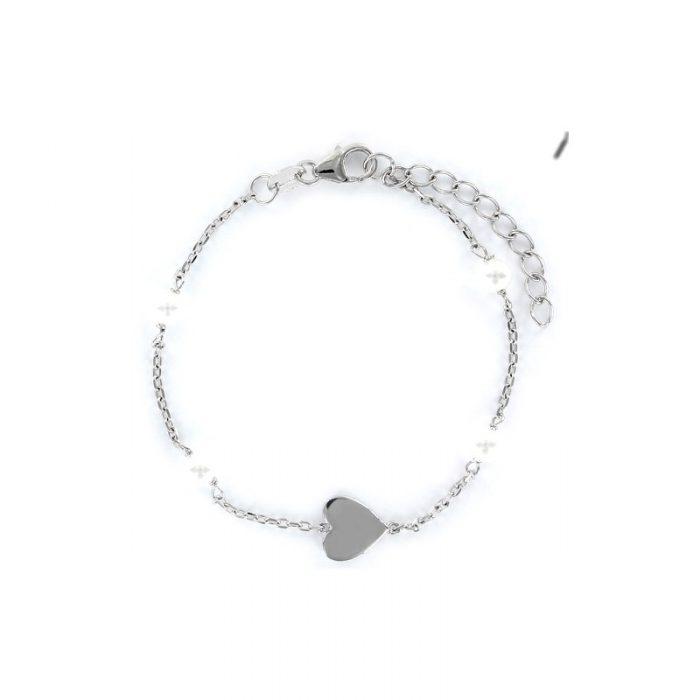 Pulsera plata Corazón y Perlas